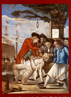Engraving by Paul Revere of the Sons of Liberty stuffing tea down an Englishman's throat